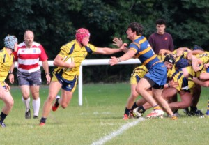 MOM Freddy Holmes carries hard from the base of the scrum