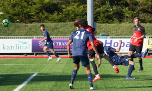"""Sam Cairns turning in the """"rabona"""" cross from Rodrigues."""